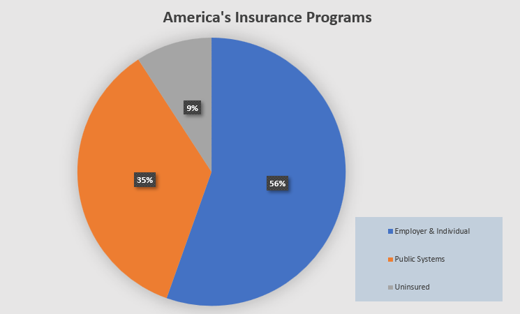 Pie graph detailing types of insurance programs utilized by Americans.