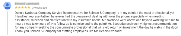 Positive Google review for SelmanCo