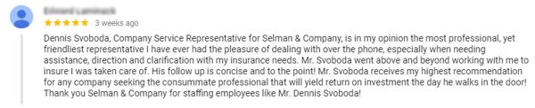 Positive Google review for SelmanCo
