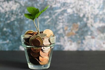 Clear cup full of coins with a small plant growing out of it